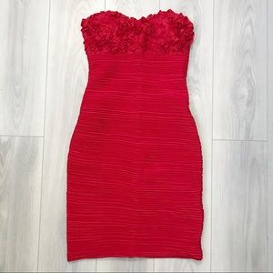 Strapless Red Bodycon Dress